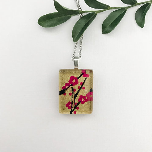 mini pendant with golds and pinks