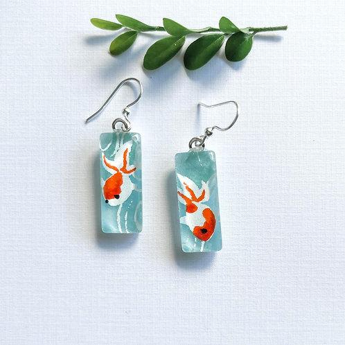 orange coy fish class Japanese paper ~ glass earrings