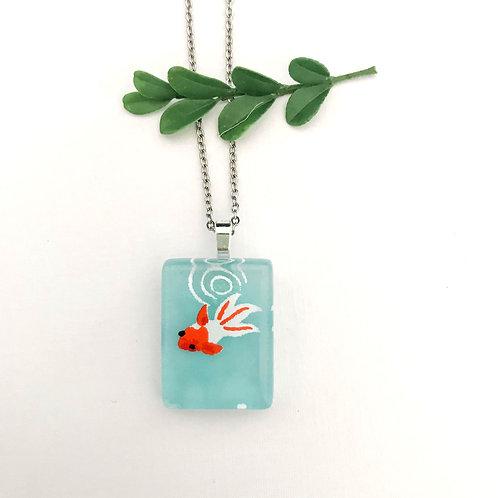 mini blue coy fish necklace