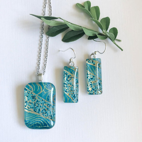 pendant and earring set ~ blues and golds
