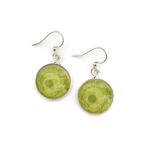 bright green pattern earrings