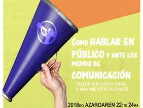 """Matrícula abierta: Taller """"Cómo hablar en público y ante los medios"""""""