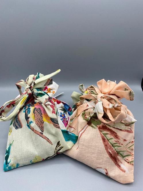 Drawstring Lavender Bags in Vintage Fabric