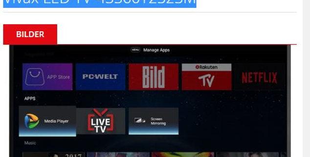 Vivax Fernseher TV-43S60T2S2M / MPEG4/ 43 Zoll / EKL:A+