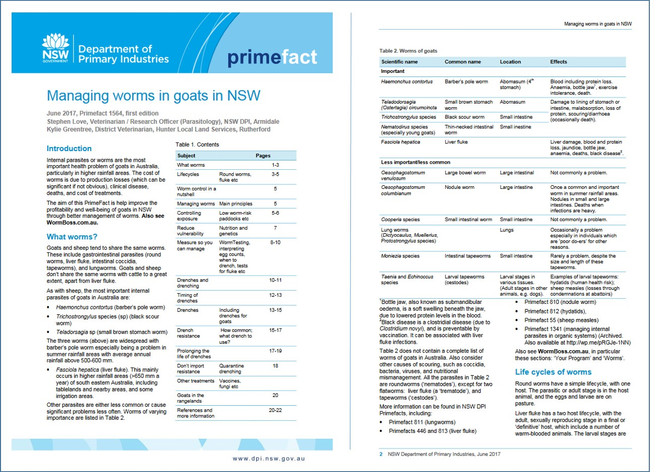 New Fact Sheet from Australia