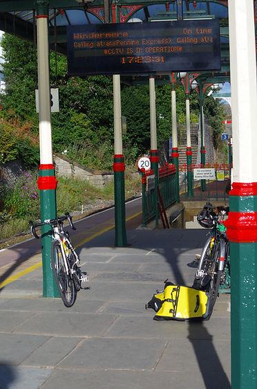 Ulverston railway station with bikes