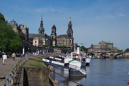 Dresden, Saxony, Germany, riverside shared cycle and pedestrian path
