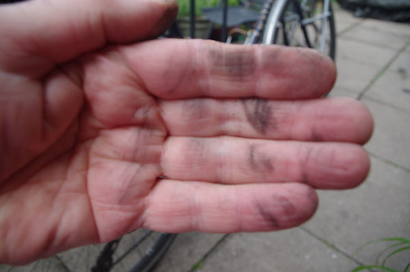 hand dirty chain bike clean
