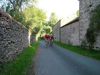 Cyclists, Great Strickland, Cumbria, walled lane
