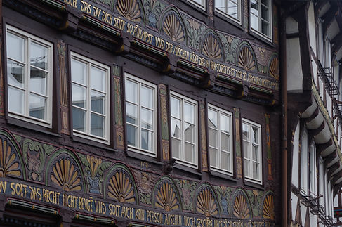 Old timber-framed decorated buildings, hoxter, Weser, Germany