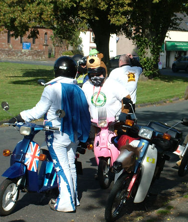 Evel Knievel and lookalike friends, Langwathby, Eden, Cumbria