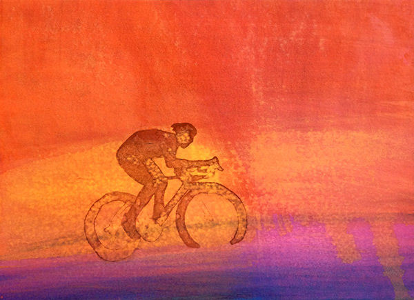 Louise Hardy Flying Cyclist Image painting cycling