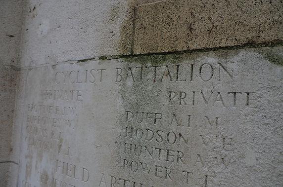 Cyclist battalion names on memorial at Messines Ridge Cemetery Mesen