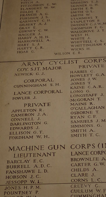 Menin Gate Ypres Ieper panel Army cyclist corp