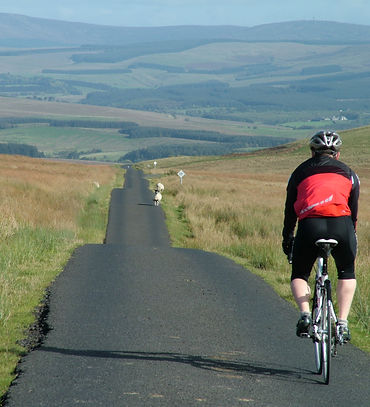 Descent to Newcastleton from Tarras Lodge, Borders, Scotland, cycling