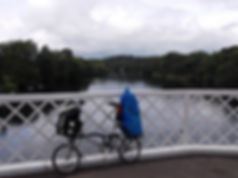Brompton, loaded, camping, folding bike, wark bridge, northumberland, river tweed