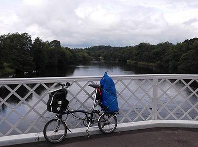 Brompton, loaded, camping, folding bike, wark bridge, northumberland, river tweed