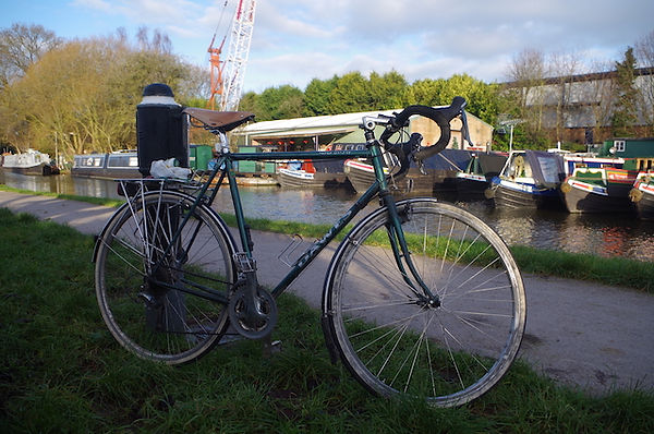bike bicycle cycle canal towpath boat crane yeard tyres wheel frame