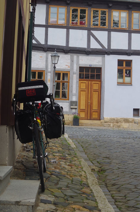 Dawes Supergalaxy touring bike outside the Youth Hostel, Quedlinburg, Germany