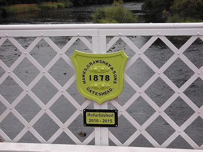 Wark Bridge, badge, plaque, Crawshay, Hawks