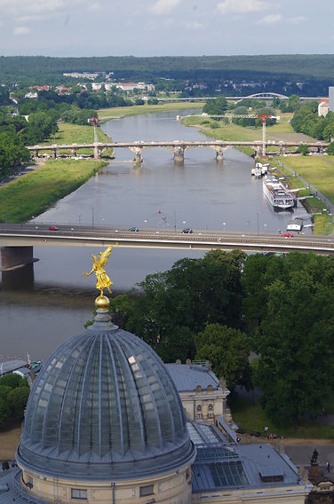 Frauenkirche, Dresden, view of Elbe from the dome