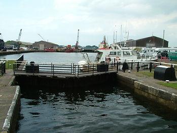 Glasson dock lock gates morecambe bay cycle way