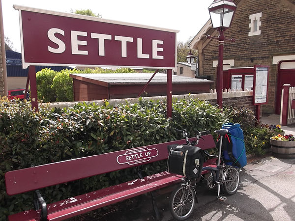Settle station Yorkshire Brompton sign