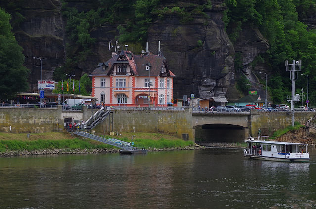 Hrensko, Czech Republic, across the river Elbe or Labe