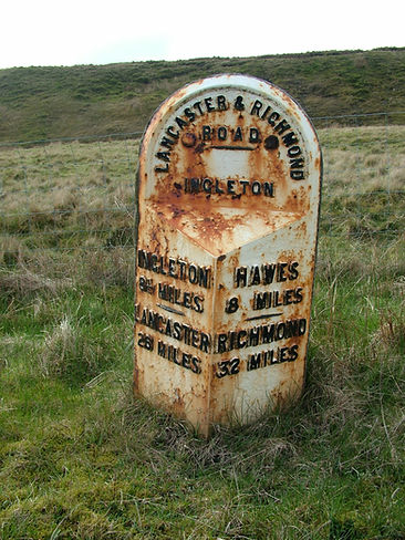 milepost sign road richmond ribblesdale hawes ingleton