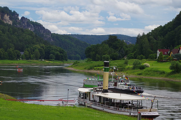 Ferries and barges, Elbe, Swiss Saxony, Germany gorge