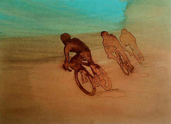 Louise Hardy cycling painting images cyclist