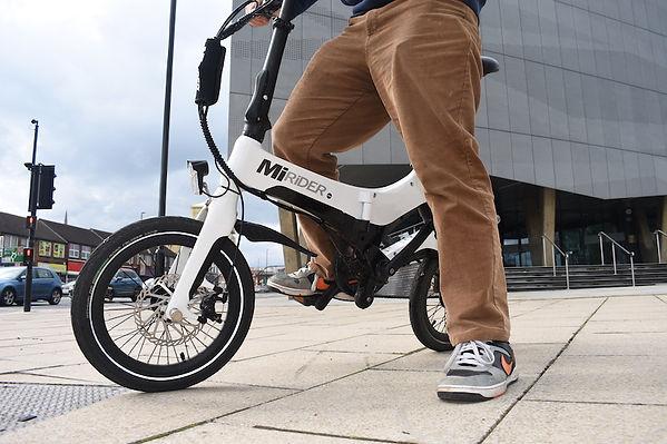 bike MiRider ebike cycle legs folding folder
