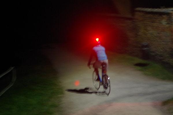 cyclist bike helmet red rear light cycling bike