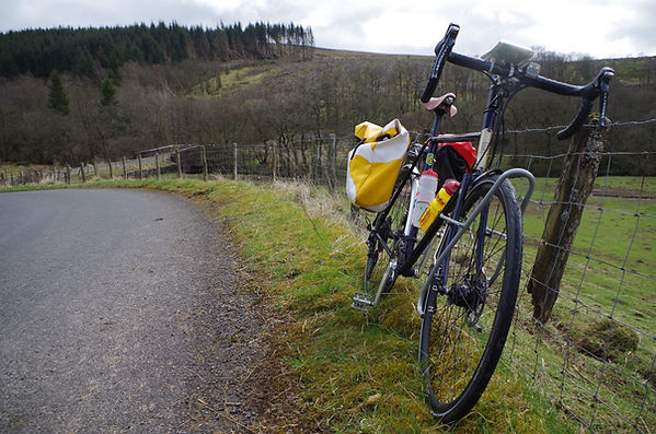 On the road in Kershope Forest with Schwalbe Evolution Marathon Plus tyres tires review test