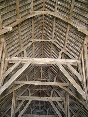 timber beams roof barn truss medieval tithe barn