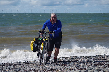 Cyclist and Sea at Walney island