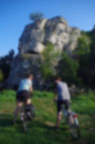 cyclists cliff crag ourthe valley belgium