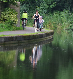 Cycling on the Lancaster Canal, Hest Bank, morecambe Bay cycle way