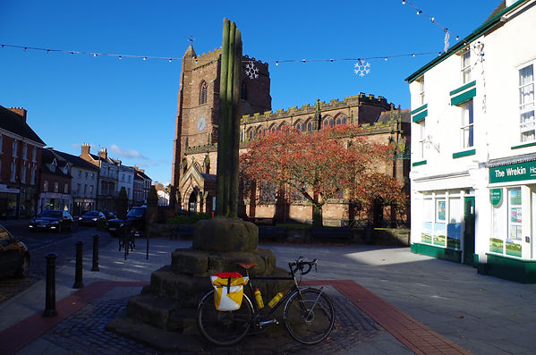 Newport, Shropshire, Bicycle, Church, High Street, autumn