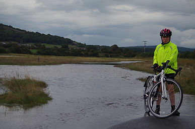 Flooded road near Carnforth, morecambe Bay cycle Way