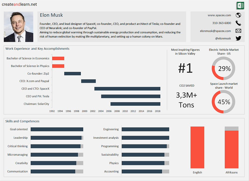 Dashboard Resume Elon Musk