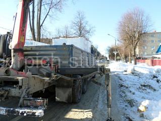 Зимняя доставка и расстановка блоков на участке.