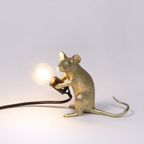 Seletti lampe souris dorée sitting