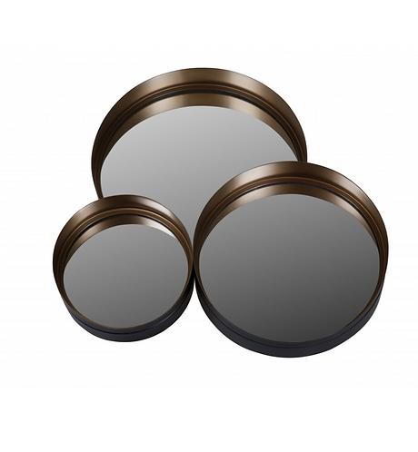 3x Miroirs ronds en métal noir Lila