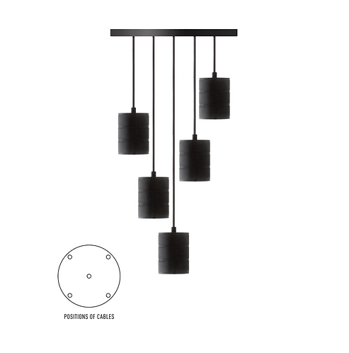 Géant Multi Pendule Noir 5 E40