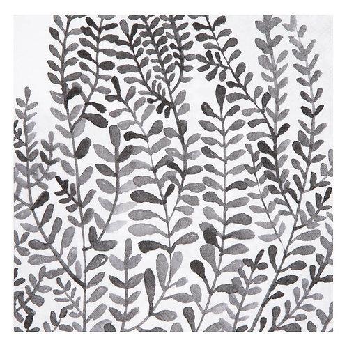 serviettes feuilles black 33x33cm set de 20pc