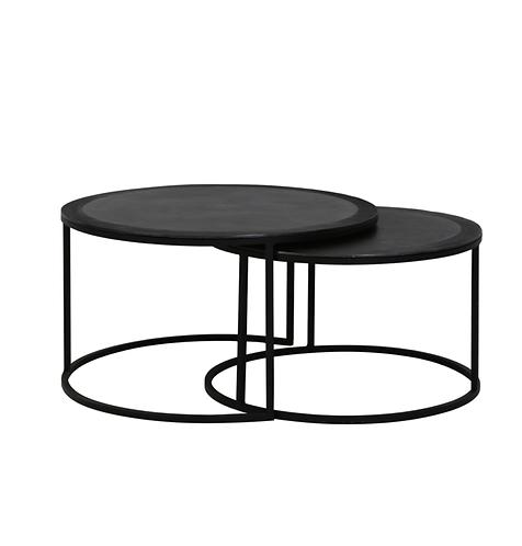 Set de 2 tables en noir martelé