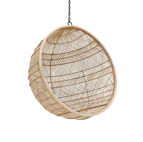Rattan hanging bowl chair natural bohemian
