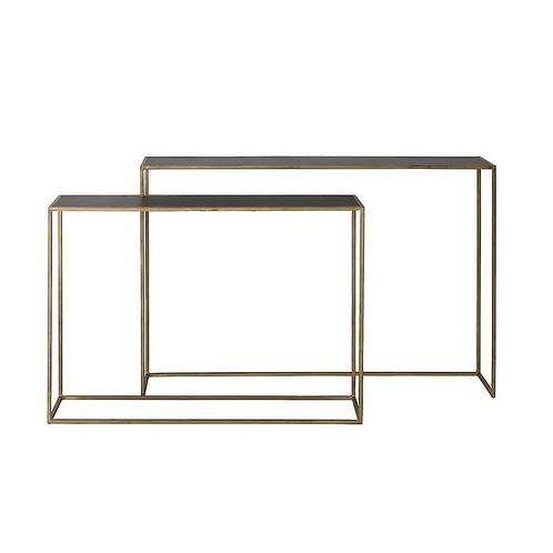 Duo consoles métal doré