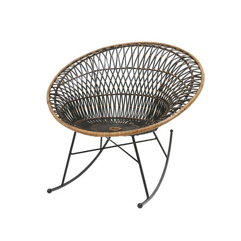 rattan rocking lounge chair